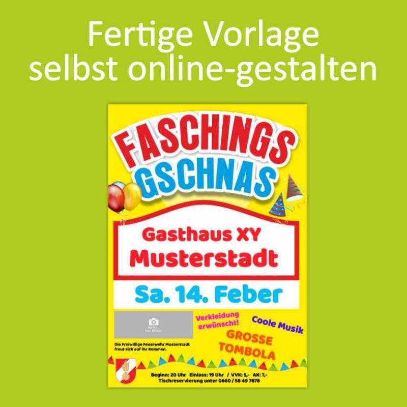 Plakate online gestalten Farbplakate Online designer Fasching