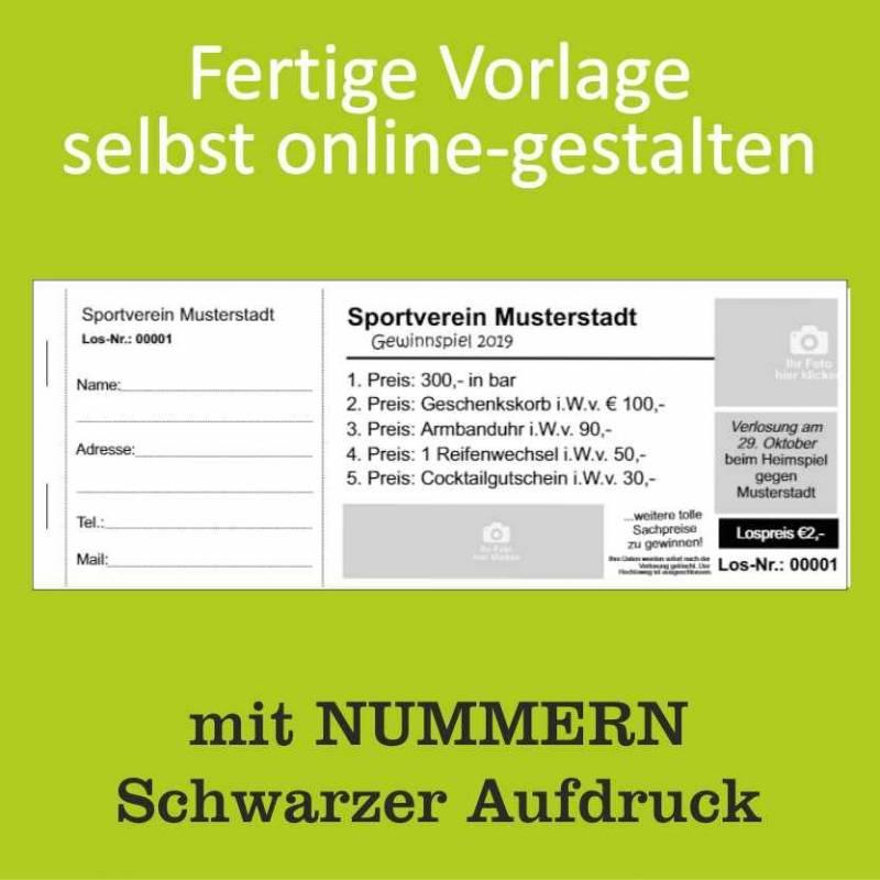 """Tombola-Lose """"Verein"""" (mit Nummern)"""