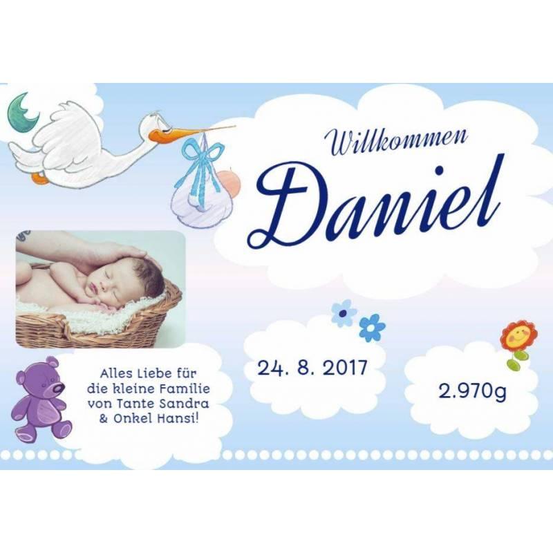 Banner zur Geburt online bestellen Transparente Partybanner Storch Baby