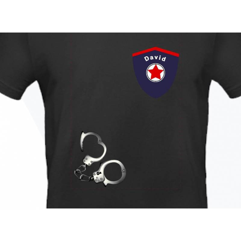 Kindershirt Polizei Handschellen Geburtstagsshirt Namensshirt personalisiert lustige Shirts