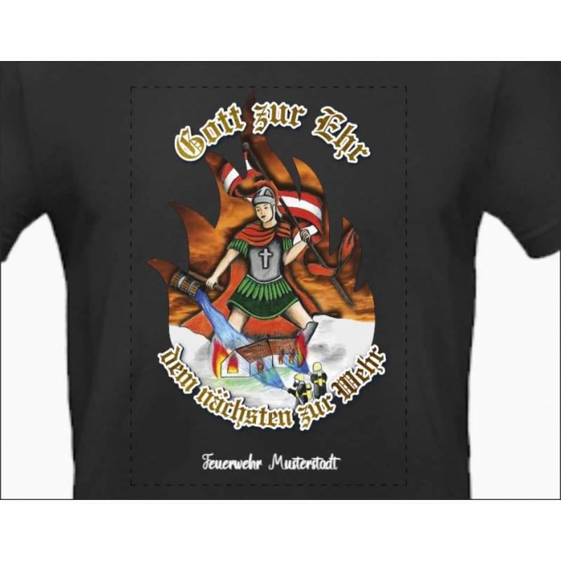 Feuerwehrshirt Feuerwehr T-Shirt Korpsabzeichen Floriani