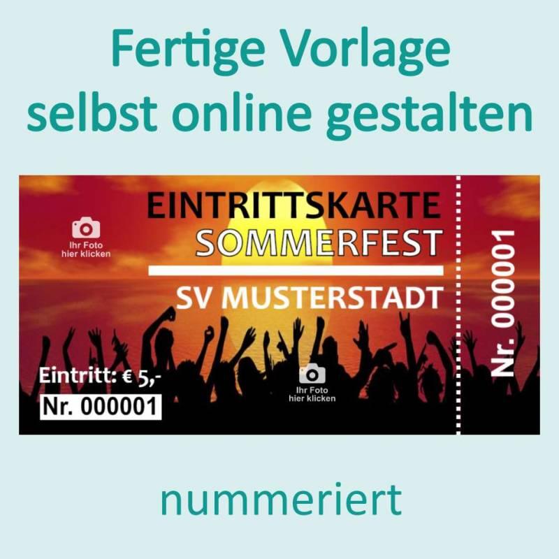 Eintrittskarten, Eintrittskarte online gestalten, Eintrittskarte nummeriert, Eintrittskarte mit Abriss