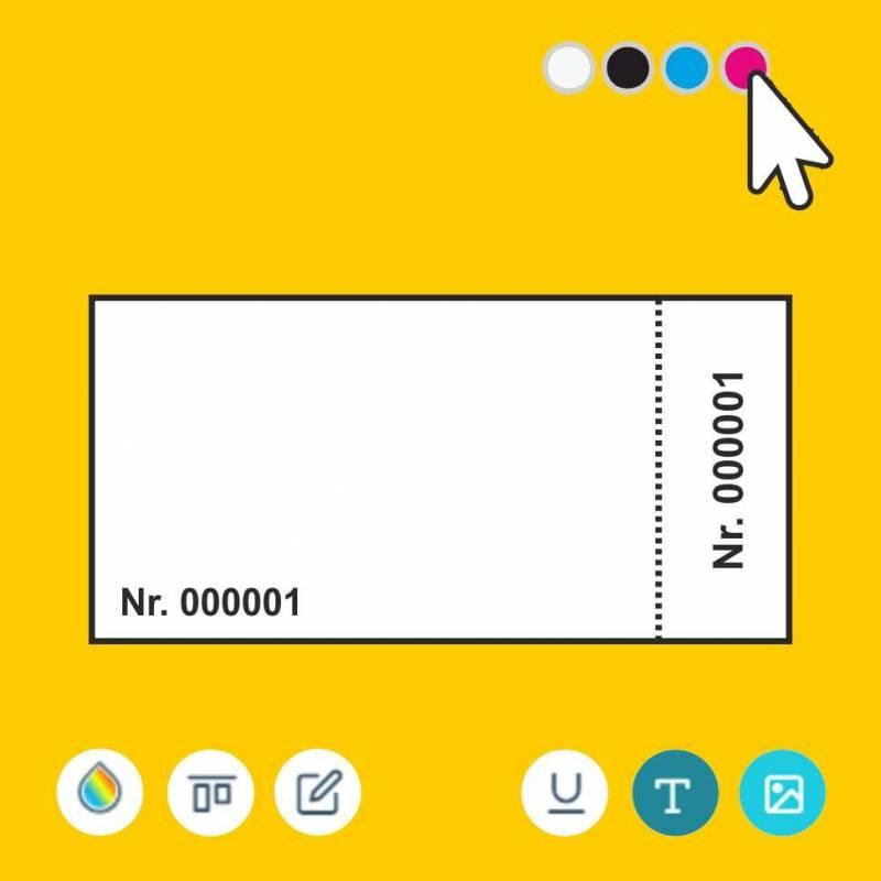 Eintrittskarten, nummerierte Eintrittskarte, Eintrittskarte online gestalten, Eintrittskarte mit Abriss