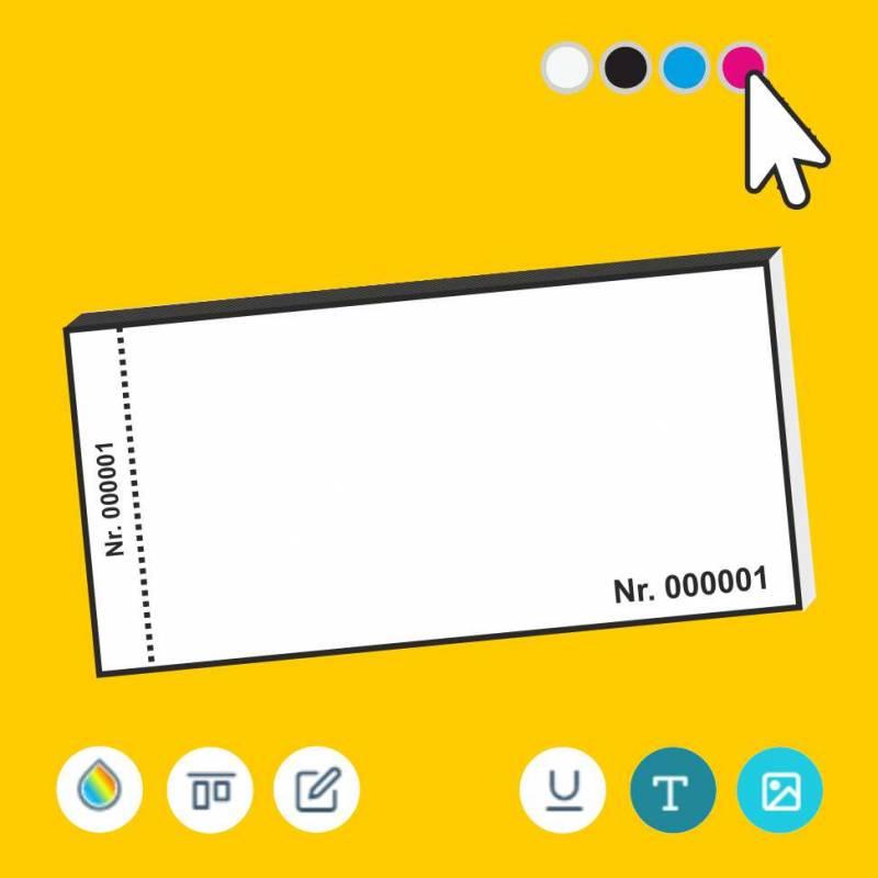 Eintrittskarten, nummerierte Eintrittskarte, Eintrittskarte online gestalten, Eintrittskarte mit Abriss, Eintrittskartenblöcke