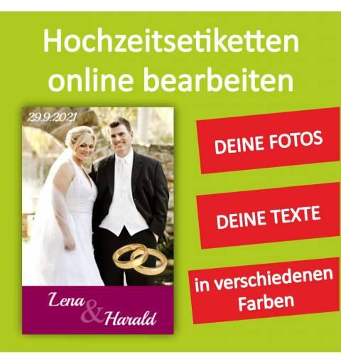 Hochzeitsetikett, Etiketten für Hochzeit, Hochzeitswein
