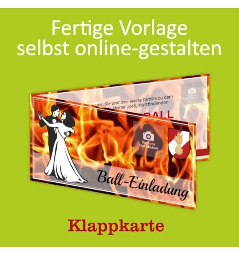 Einladung Balleinladung Feuerwehreinladung Karte Klappkarte